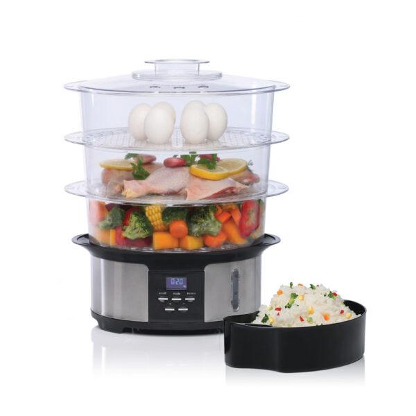 Cocina a Vapor Digital Liliana Naturel Av930 - 3 Niveles 1050w 12 Litros